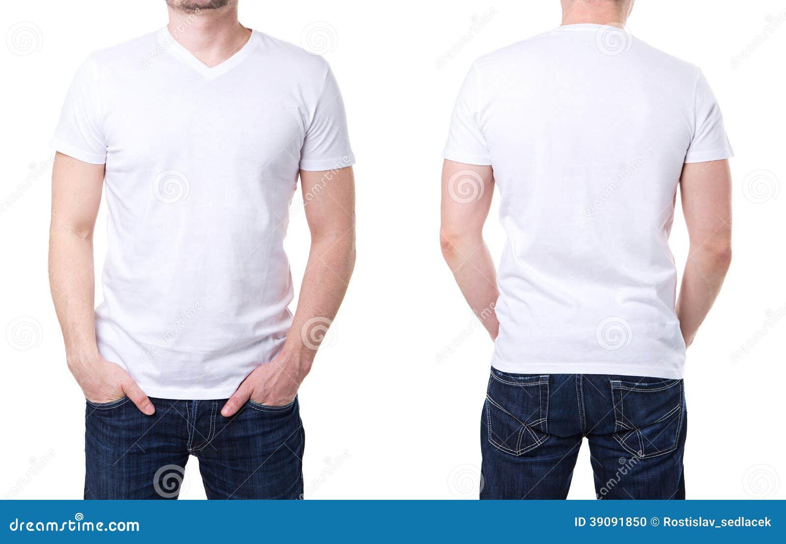 T-shirt blanc sur un calibre de jeune homme