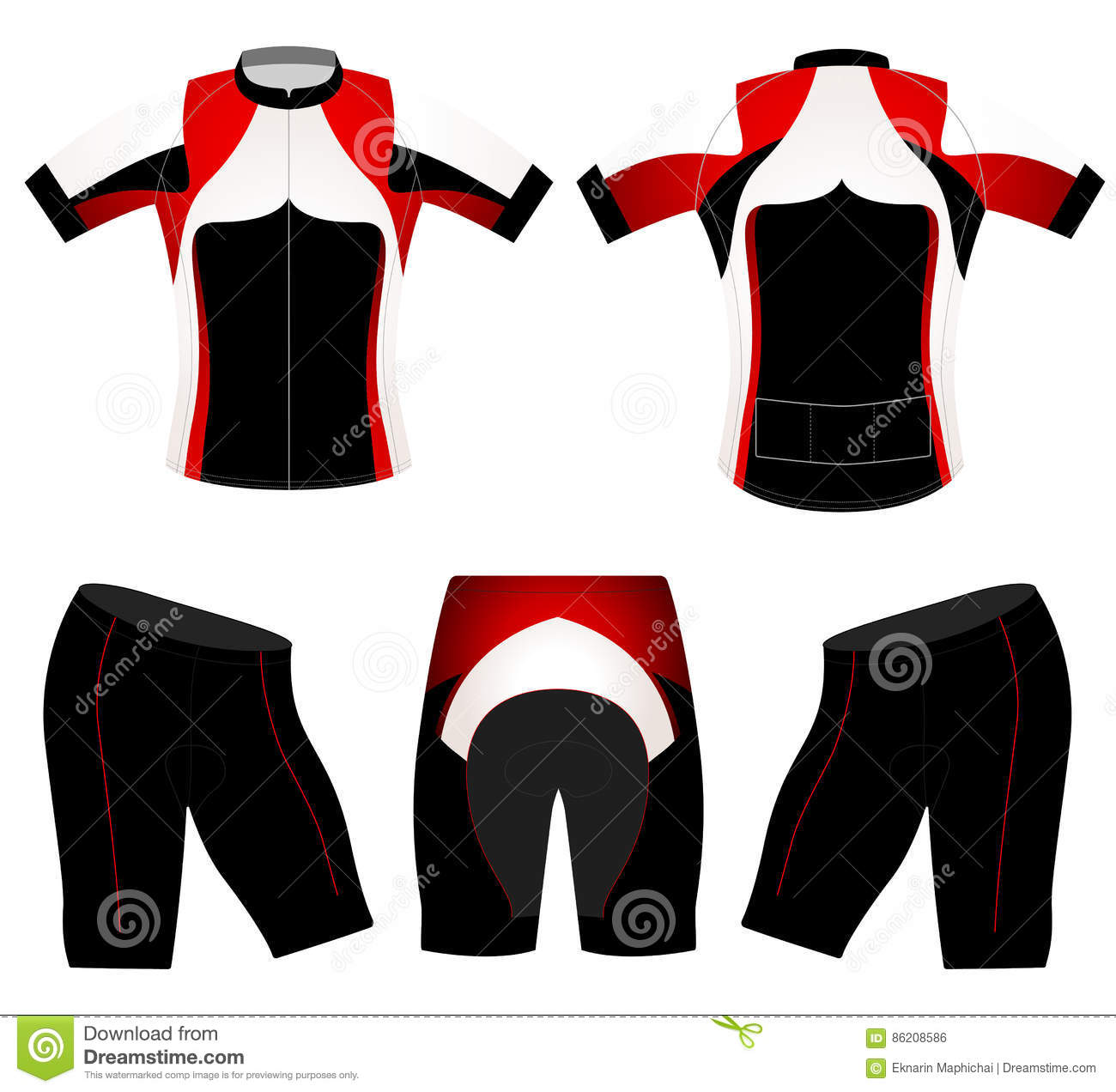 da267eb88f62 T-shirt sports black and red style vector cycling vest design on a white  background. More similar stock illustrations