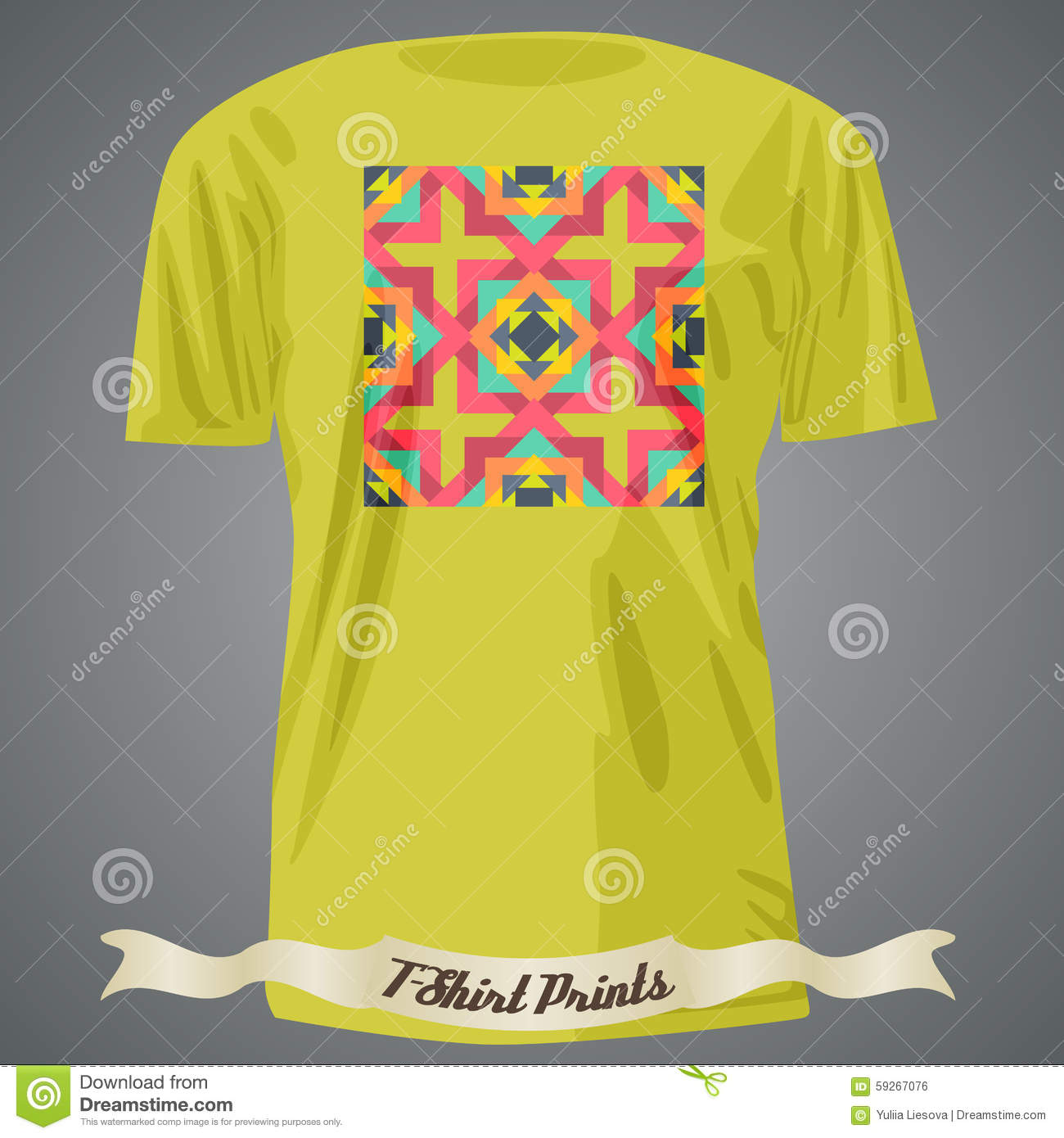 T Shirt Design With Abstract Colorful Geometric Pattern Stock Vector