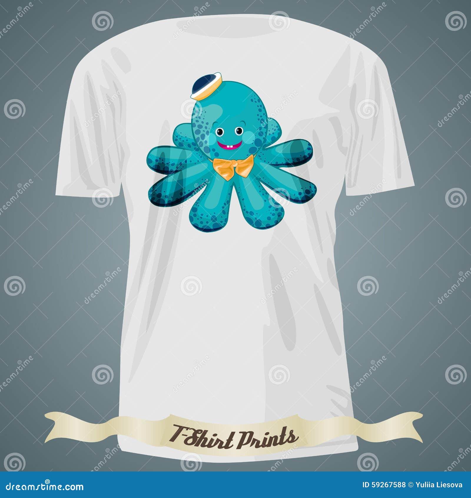 Shirt design octopus - T Shirt Design With Cartoon Of Baby Octopus In Hat