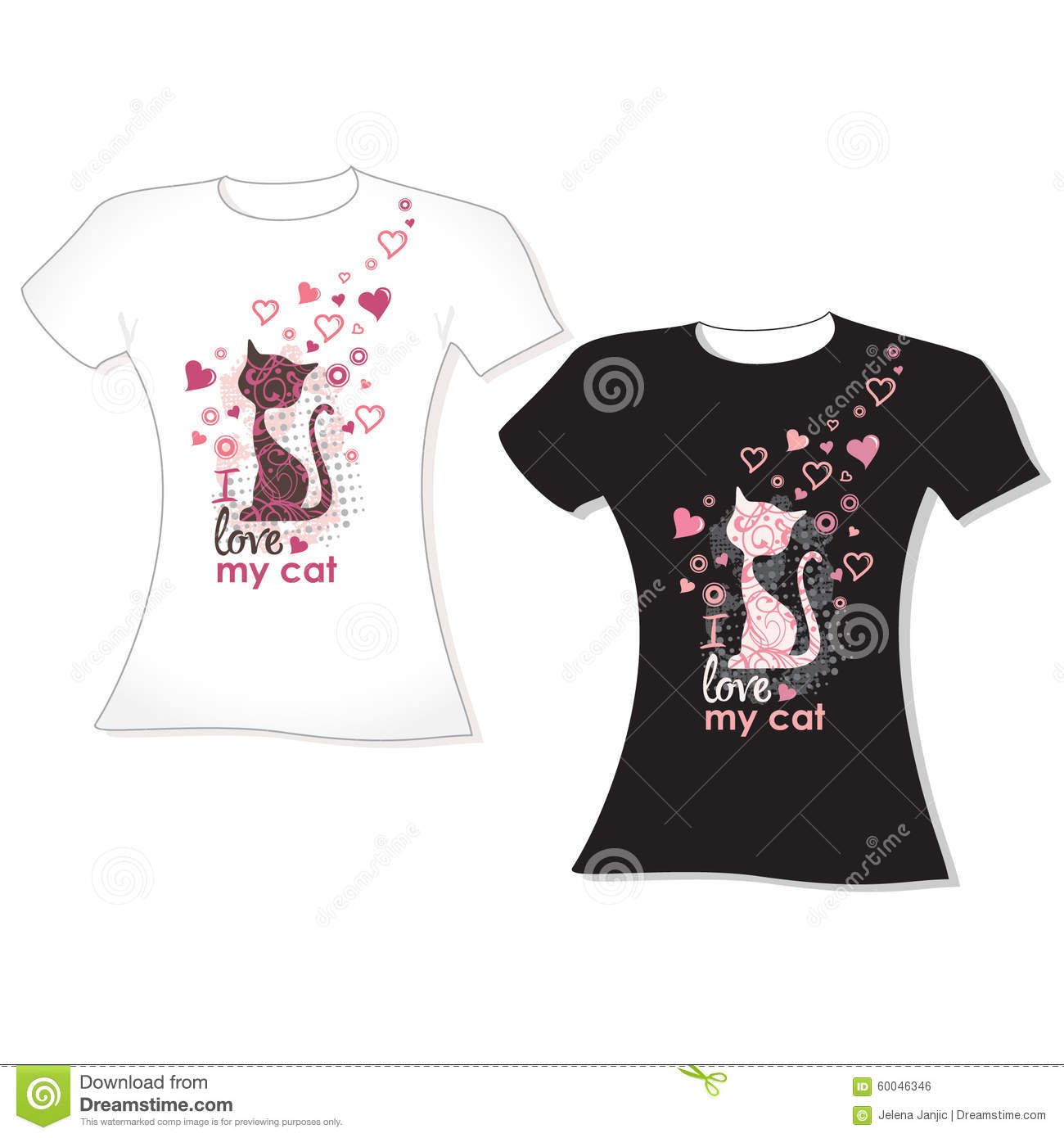 With Stock Vector DesignCat Hearts T Shirt Silhouette vN8mn0w