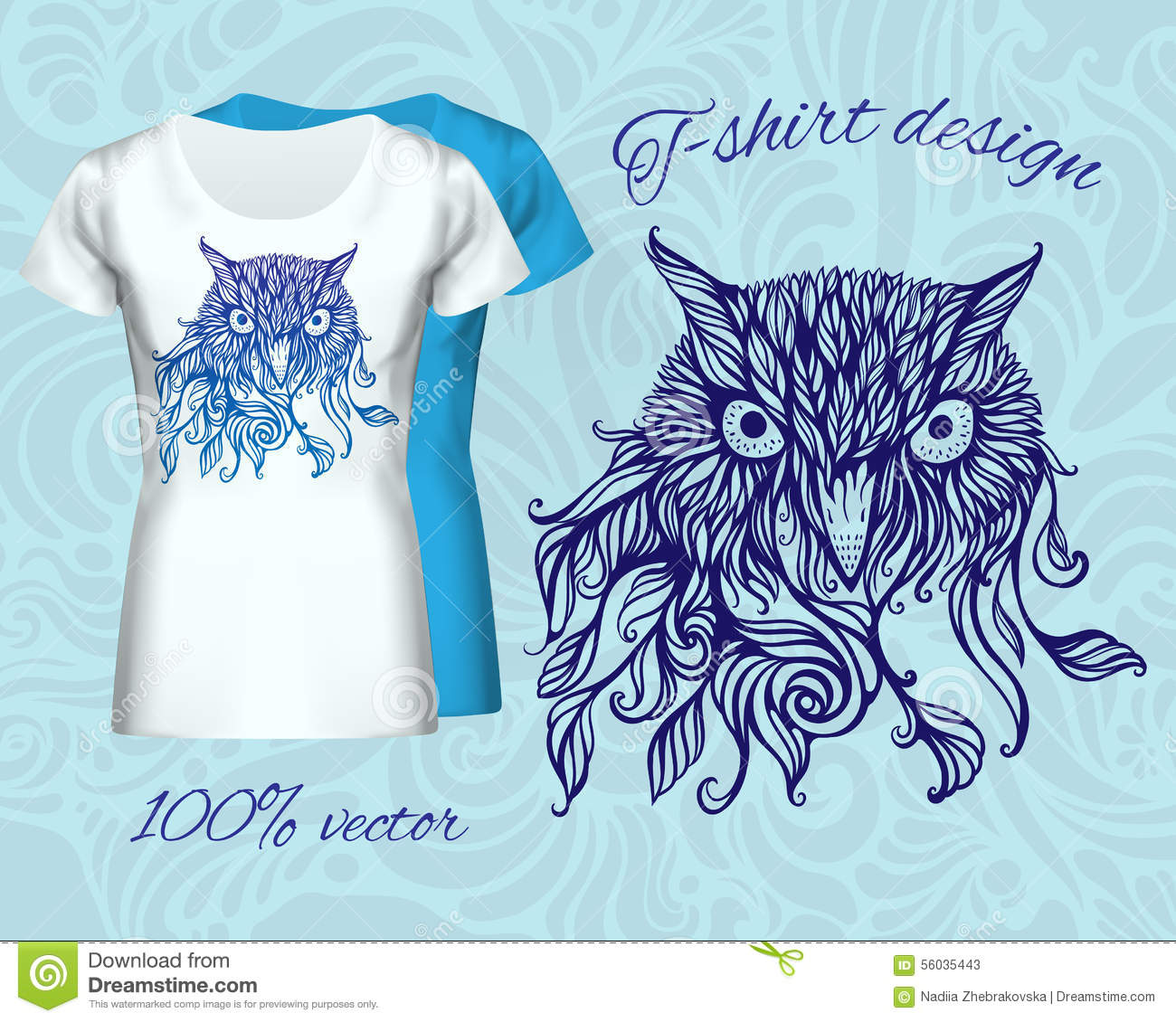 T-shirt design with head of owl