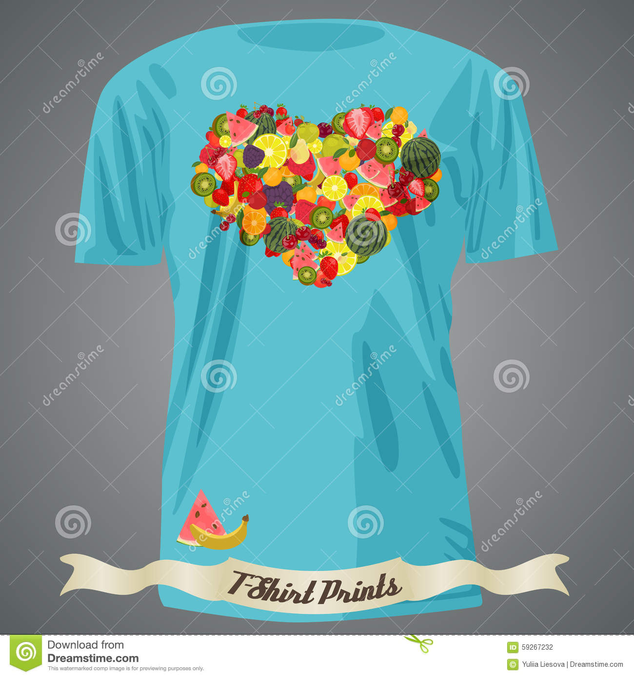 Heart design t shirt - Design Fruits Heart Illustration Made Shirt