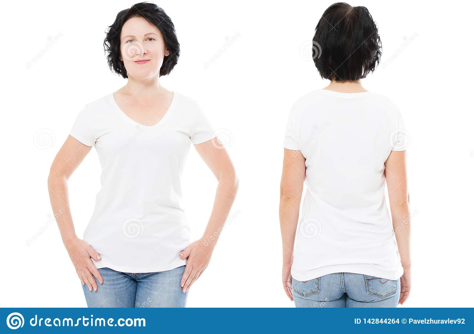 T-shirt design and people concept - close up of middle-aged woman in blank white t-shirt, shirt front and rear isolated. Mock up