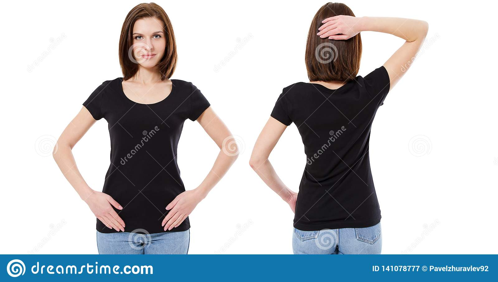 T-shirt design and people concept - close up of young girl in blank black t-shirt, shirt front and back isolated