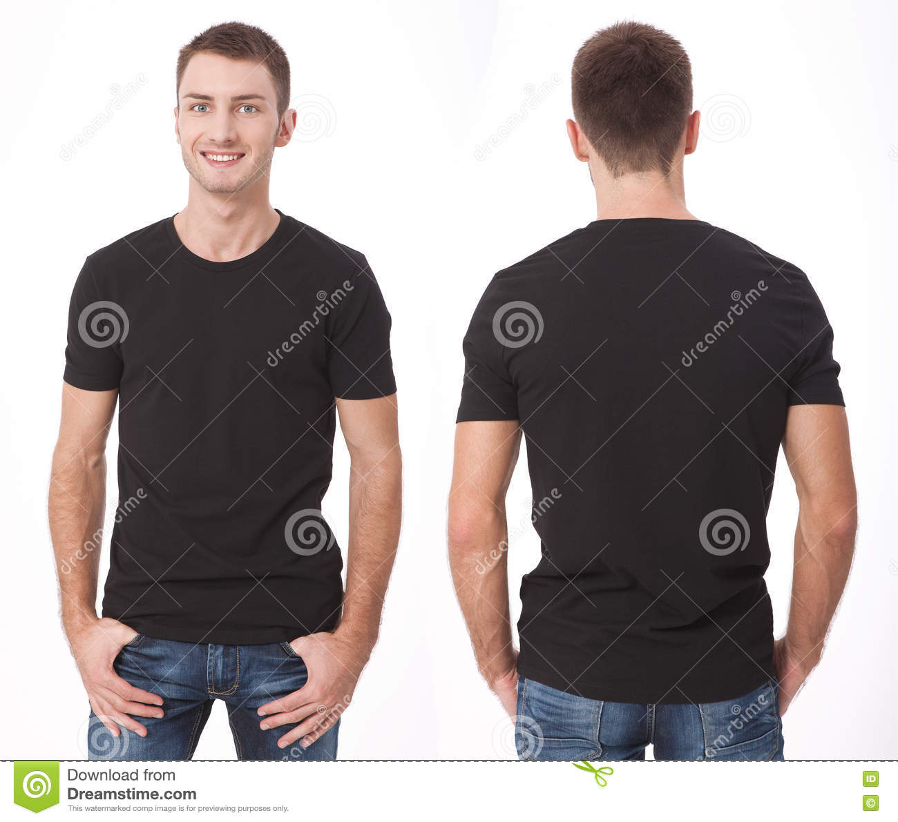 T-shirt design and people concept - close up of young man in blank white t-shirt. Clean shirt mock up for design set.