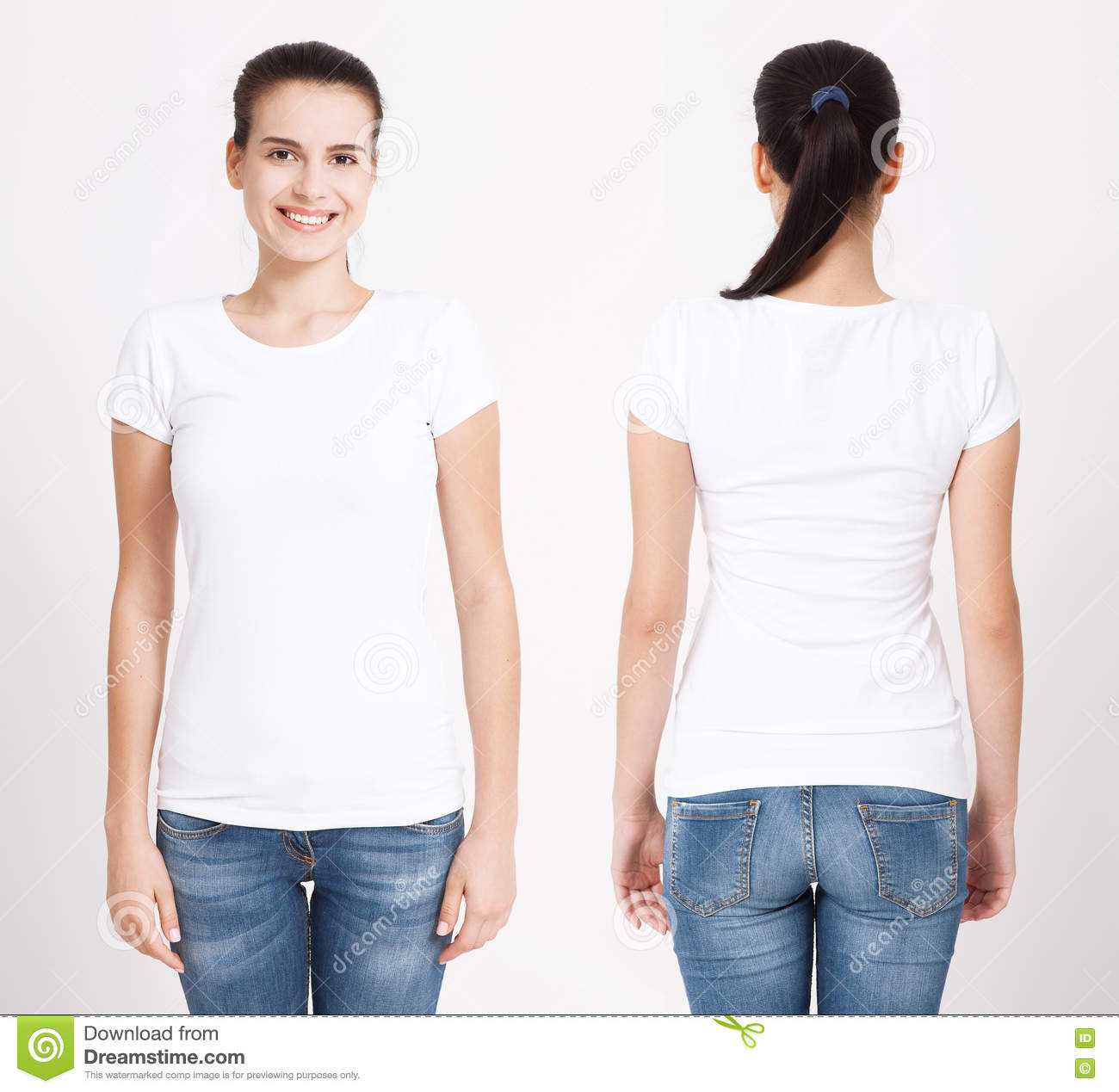 T-shirt design and people concept - close up of young woman in blank white t-shirt. Clean shirt mock up for design set.