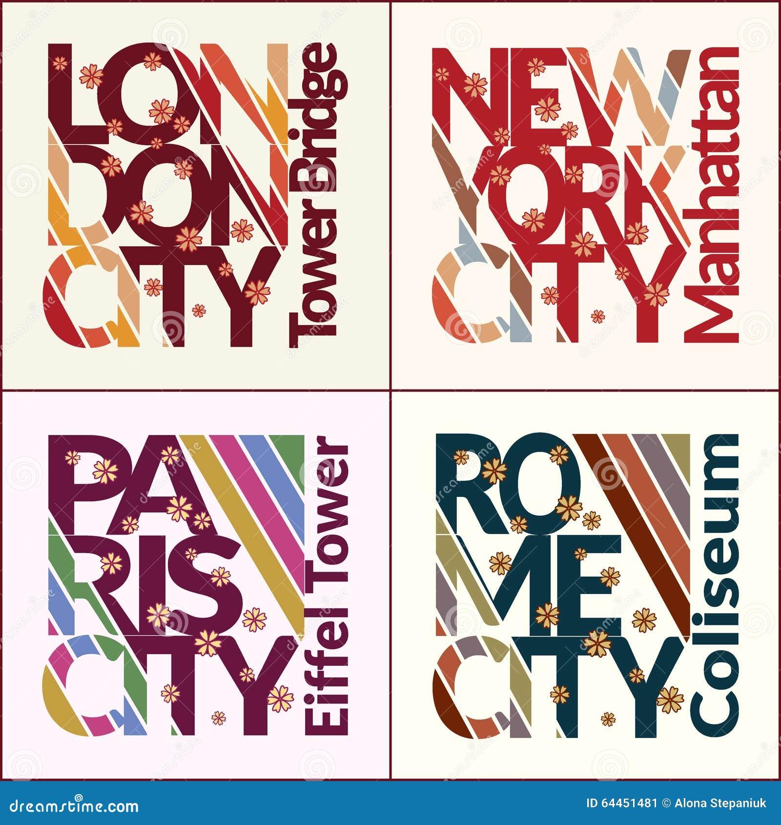 Shirt design nyc - T Shirt Design Set Nyc London Rome Paris
