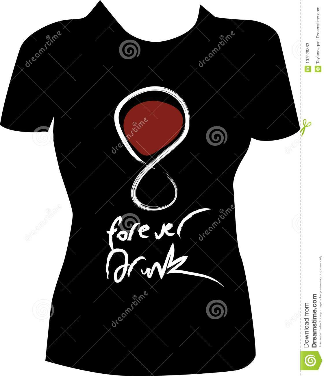 T-shirt design with wine glasses.