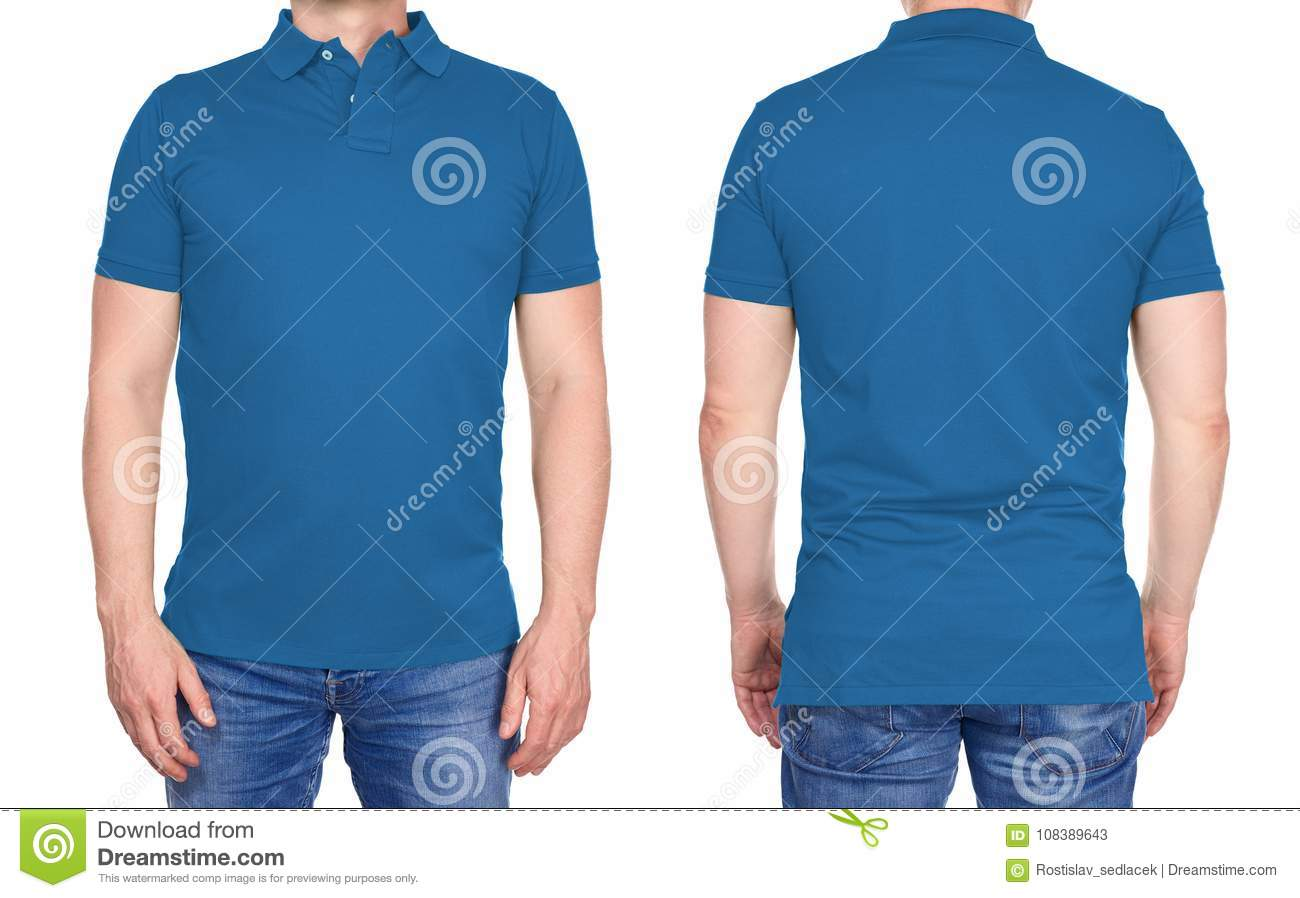 T-shirt design - man in blank light blue polo shirt isolated