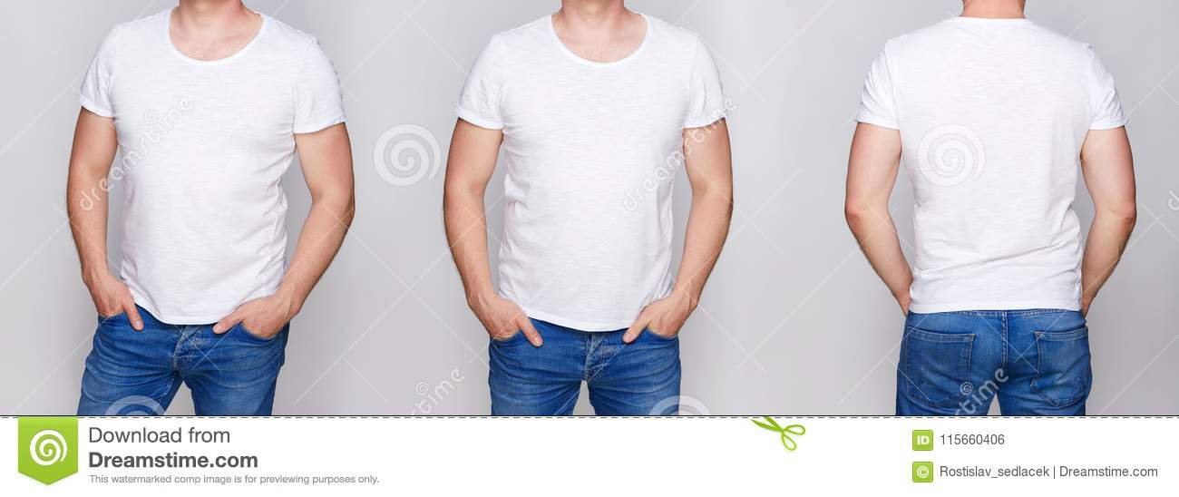 T-shirt design - young man in blank white tshirt front