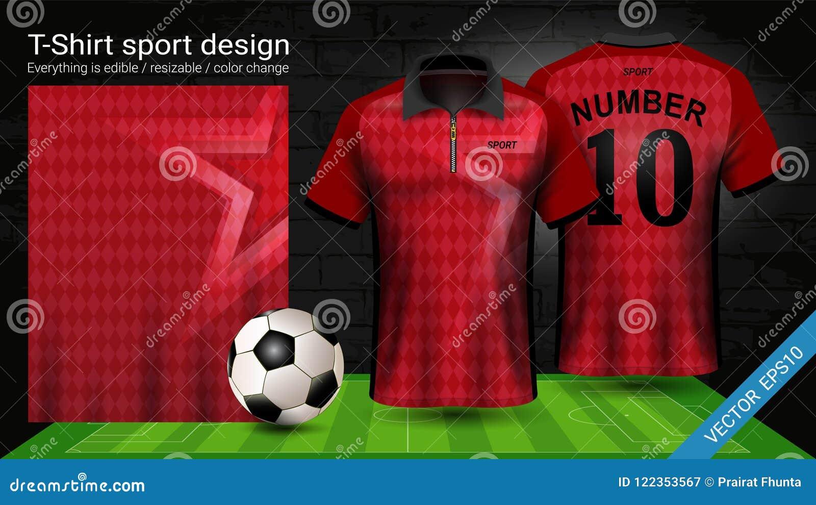 T-shirt do polo com molde do modelo do esporte do zíper, do jérsei de futebol para o jogo do futebol ou uniforme do activewear