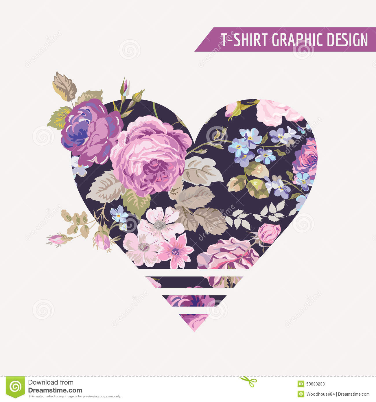 t shirt floral heart graphic design stock vector illustration of