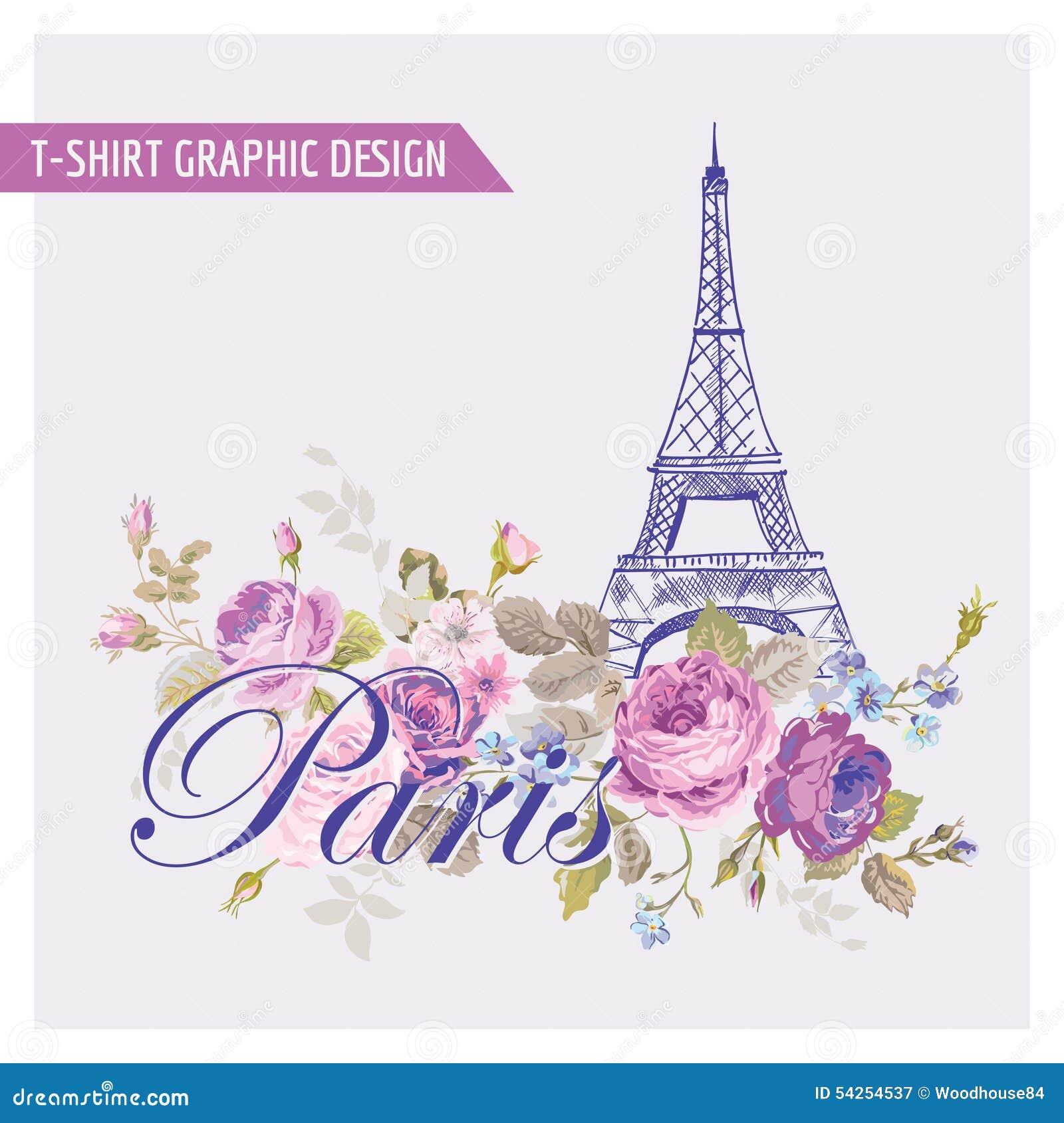T Shirt Floral Paris Graphic Design Stock Vector Image