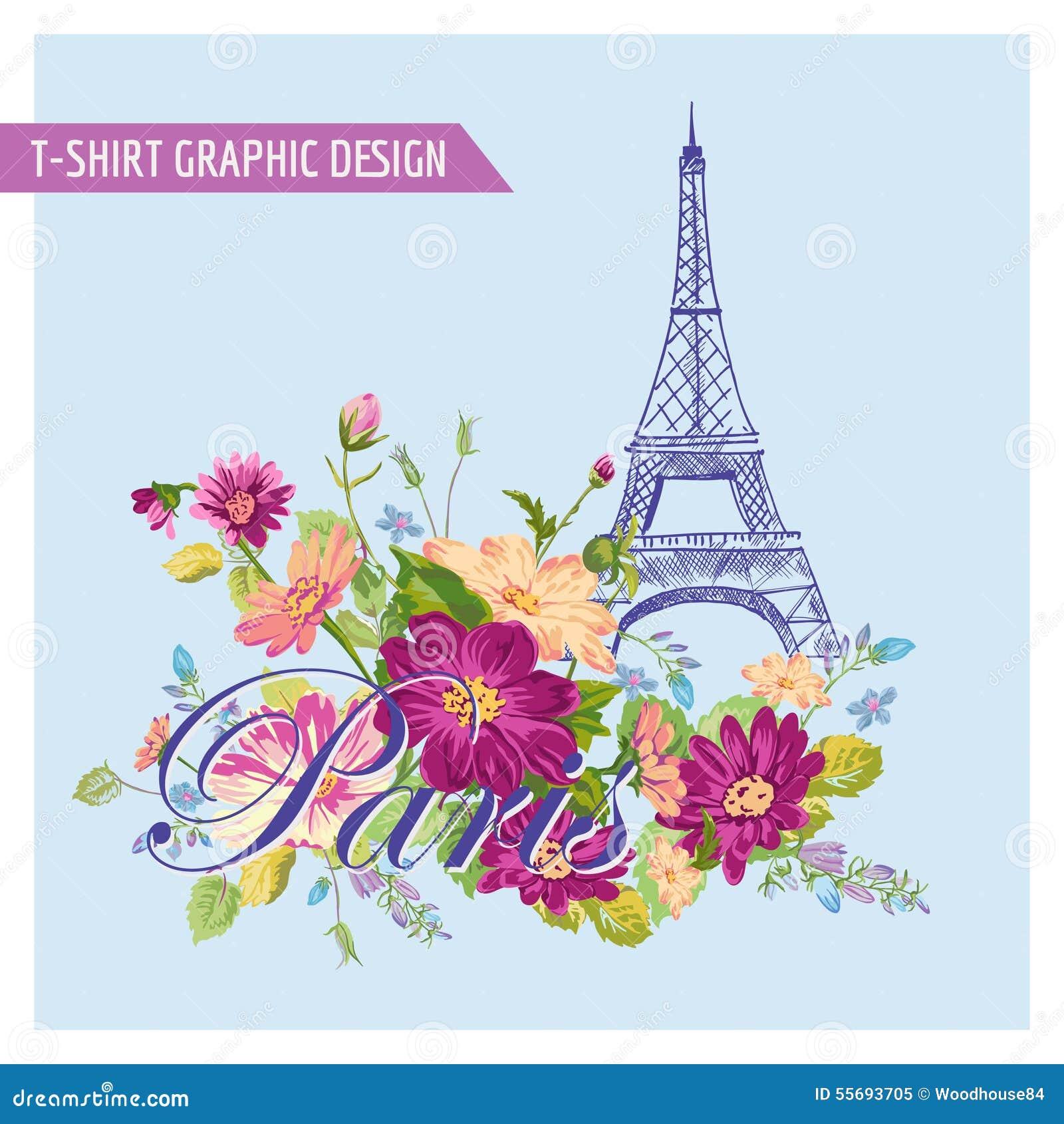 Floral paris illustration famous paris landmark eiffil for Design paris