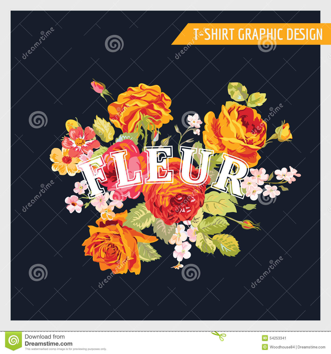 T Shirt Floral Shabby Chic Graphic Design Stock