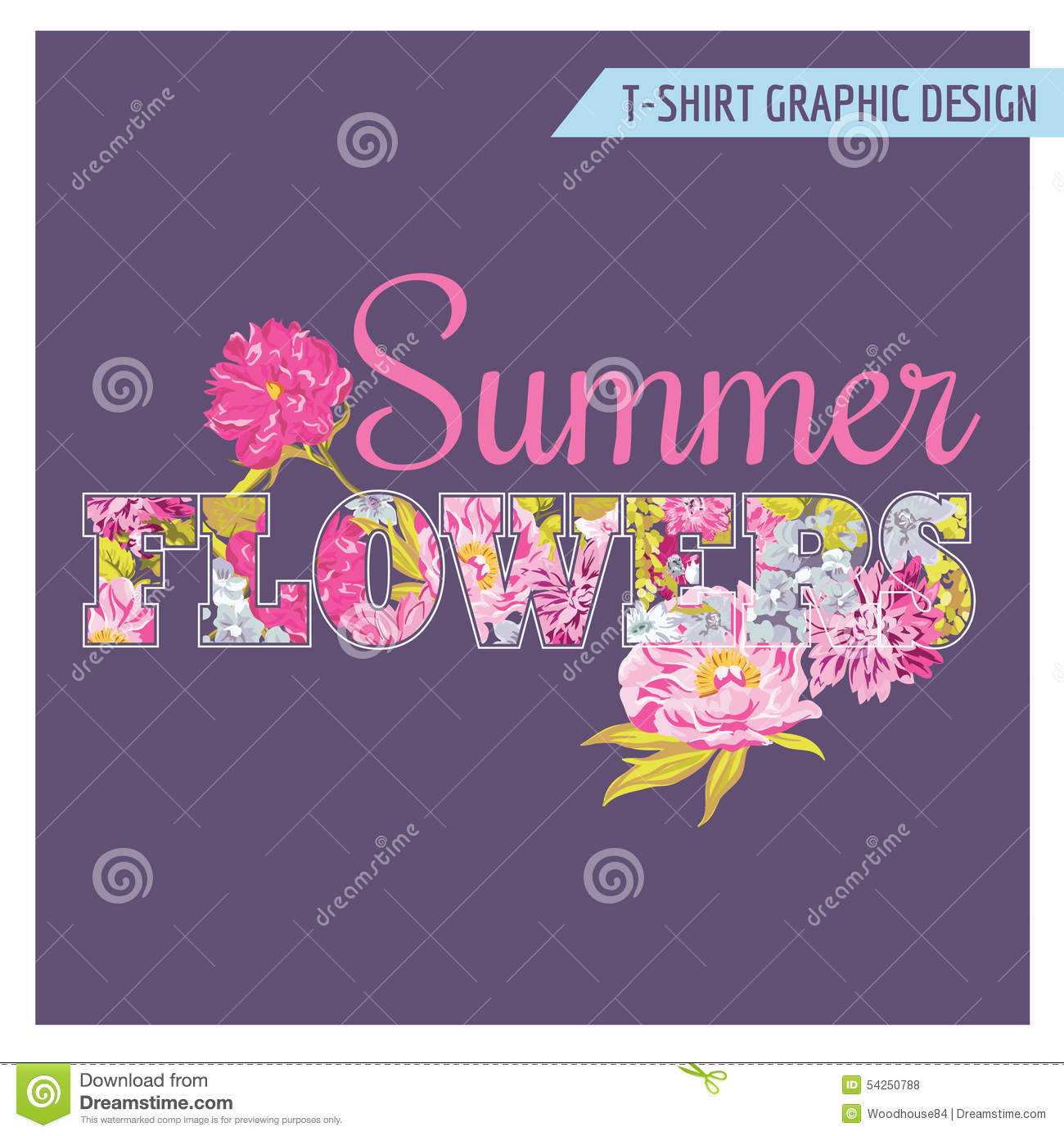 T Shirt Floral Shabby Chic Graphic Design Cartoon Vector