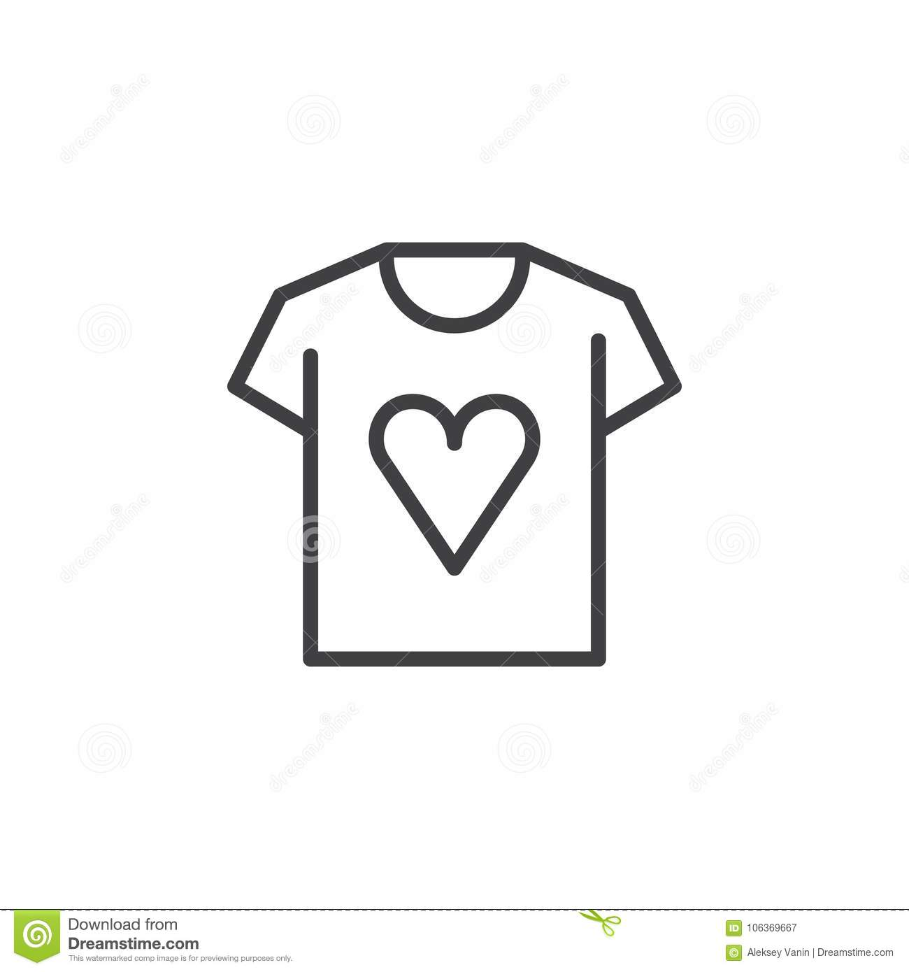 T Shirt With Heart Line Icon Stock Vector Illustration Of Simple