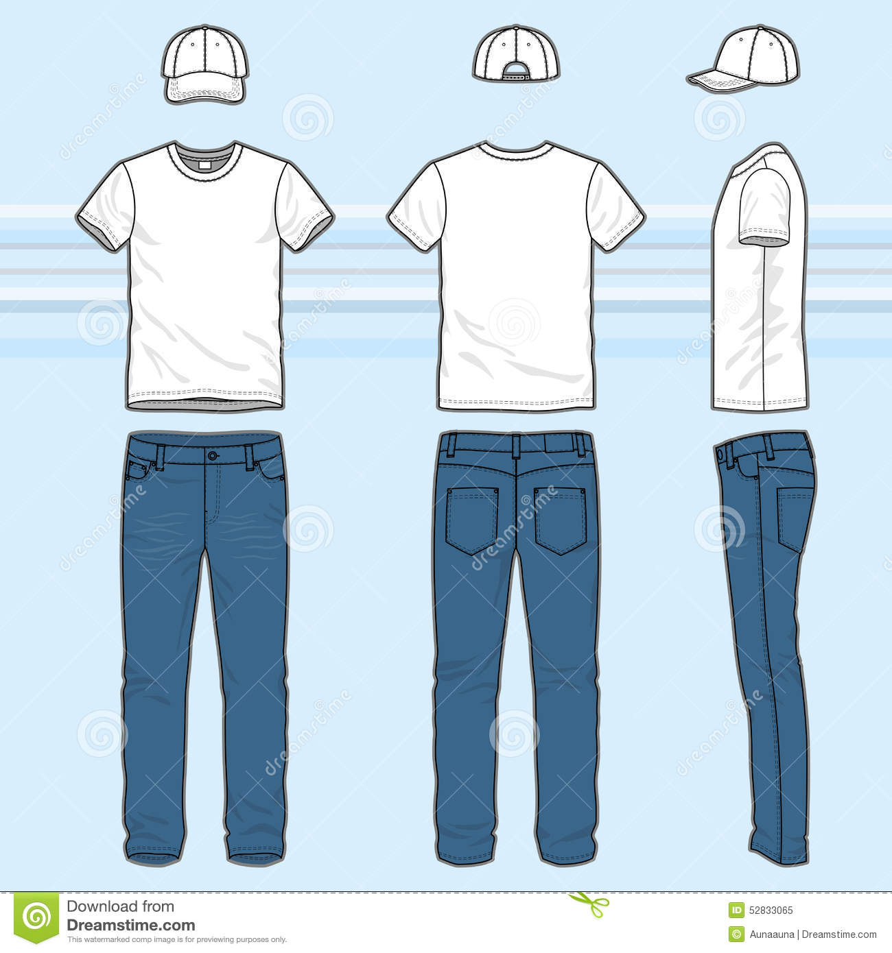 T shirt and jeans set stock vector image of headwear for Jeans t shirt style