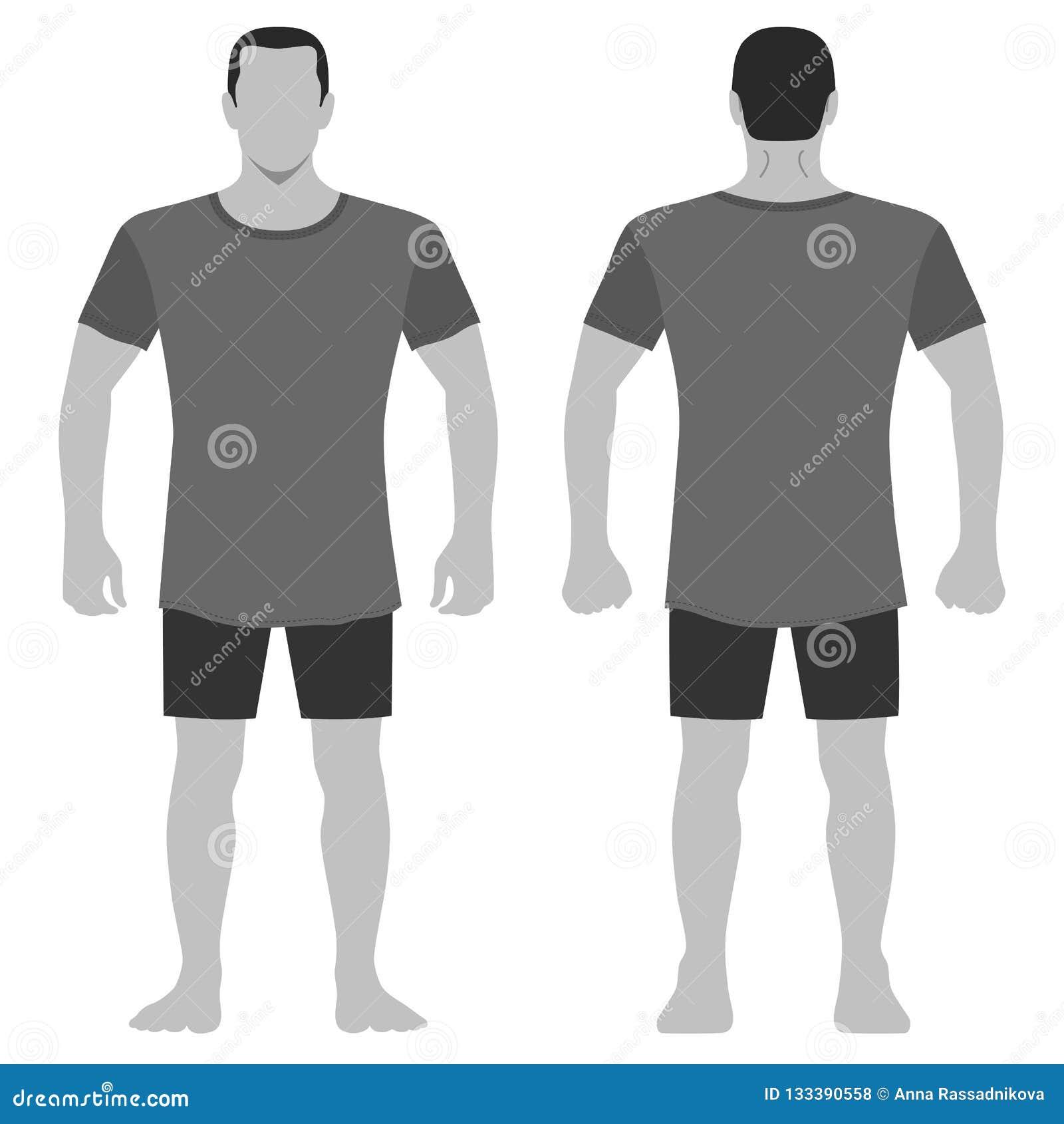 T Shirt Man Template Front Back Views Stock Vector Illustration