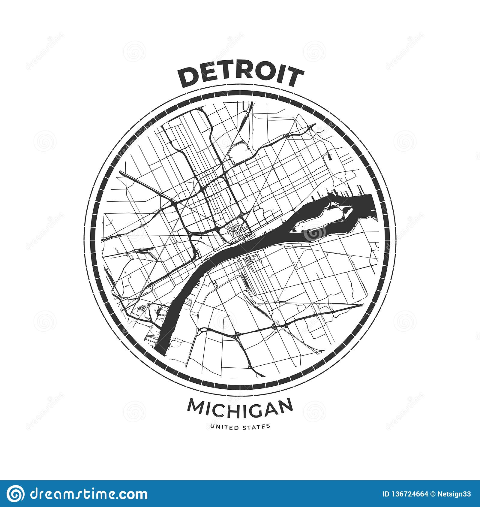 T-shirt Map Badge Of Detroit, Michigan Stock Vector - Illustration ...