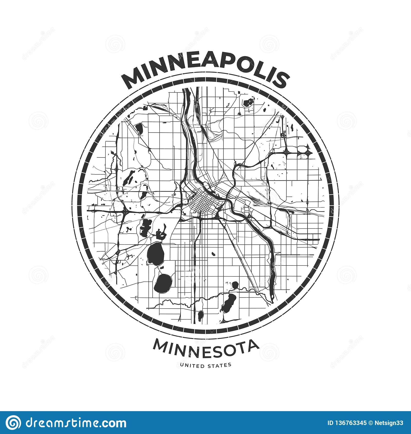 T-shirt Map Badge Of Minneapolis, Minnesota Stock ...