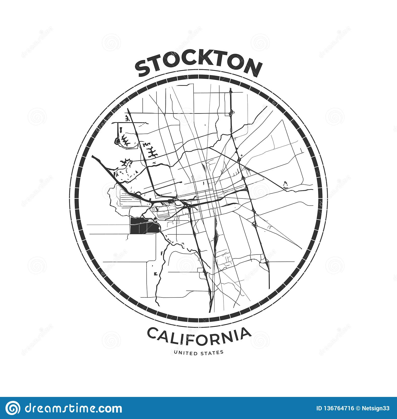 T-shirt Map Badge Of Stockton, California Stock Vector ...