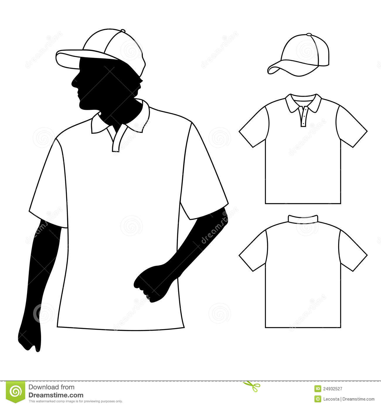 5610f128c T-shirt. Men's polo shirt template with human body silhouette and baseball  cap