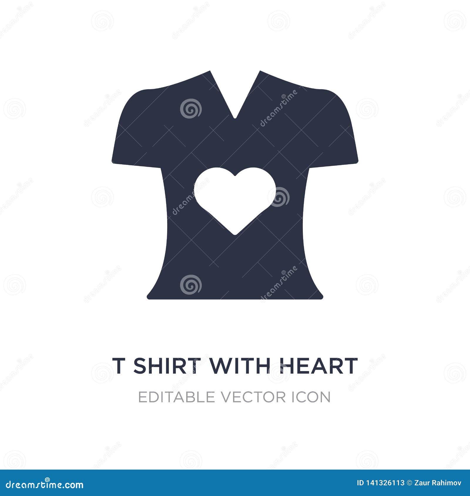 T-shirt met hartpictogram op witte achtergrond Eenvoudige elementenillustratie van Manierconcept
