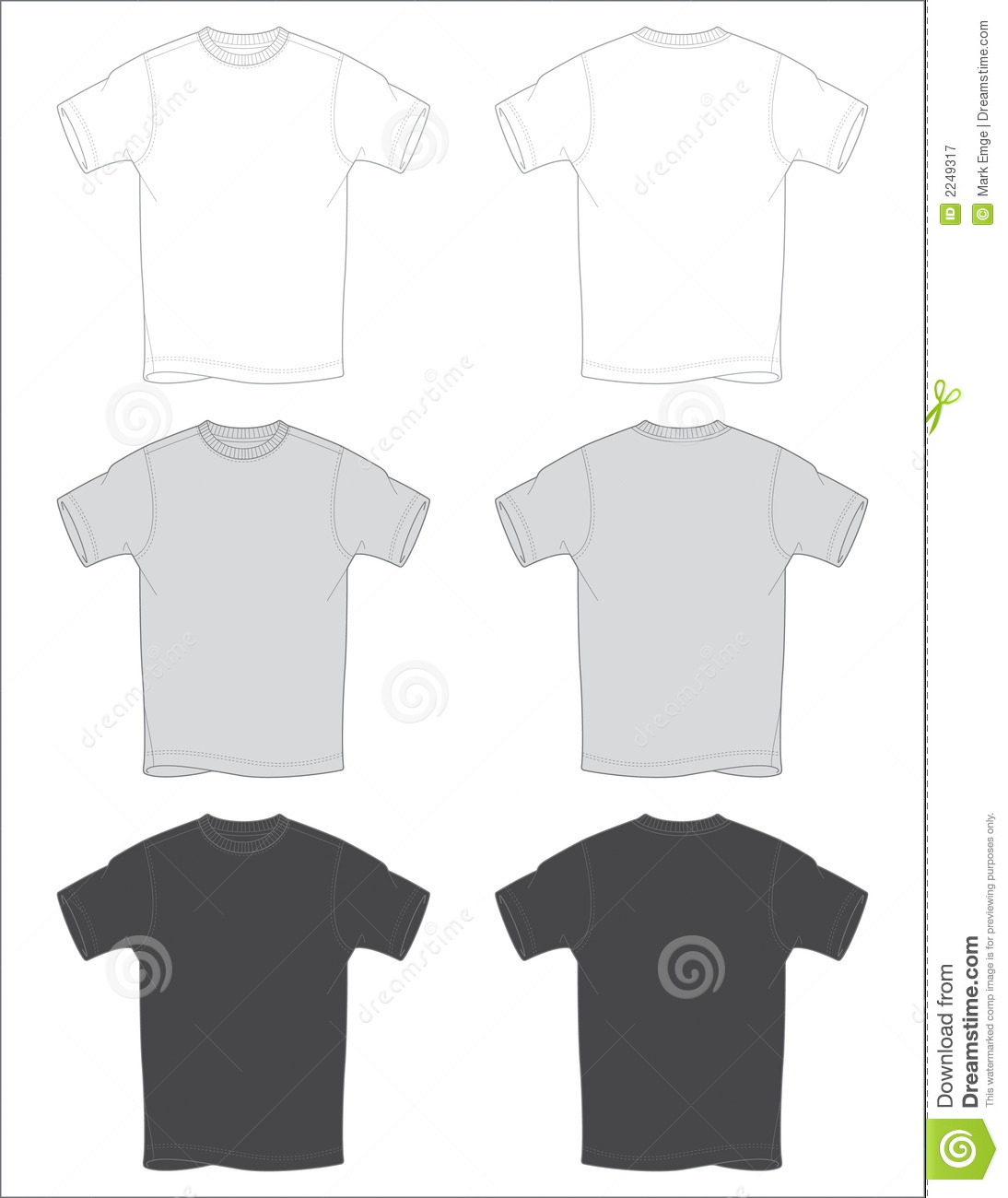 T Shirt Outlines Vector Royalty Free Stock Photography