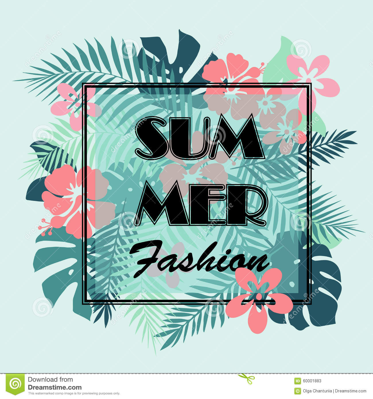 T shirt poster design - T Shirt Or Poster Design Print With Palm Leaves And Exotic Flowe Stock Illustration Image 60001883
