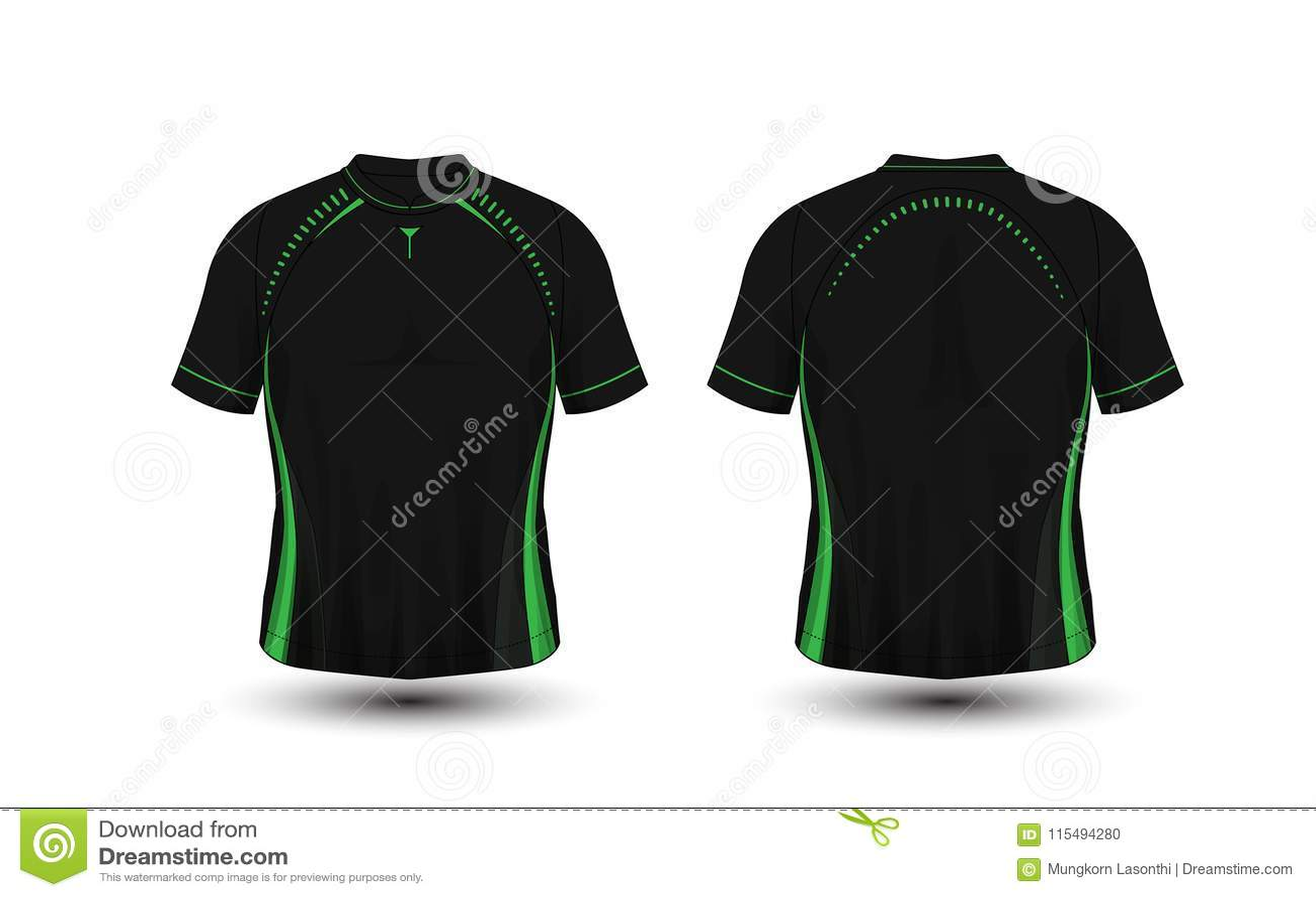 T-shirt preto e verde do esporte do futebol da disposição, jogos, jérsei, molde do projeto da camisa