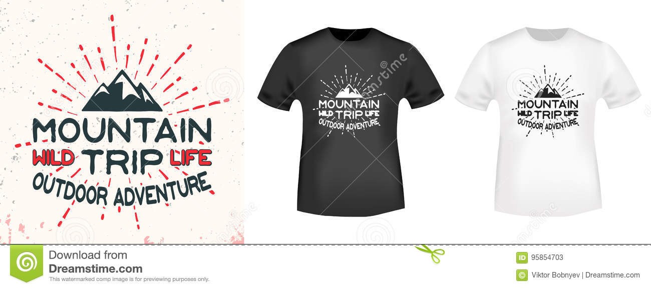 a914c26dc T-shirt print design. Mountain vintage stamp and t shirt mockup. Printing  and badge applique label t-shirts, jeans, casual wear. Vector illustration.