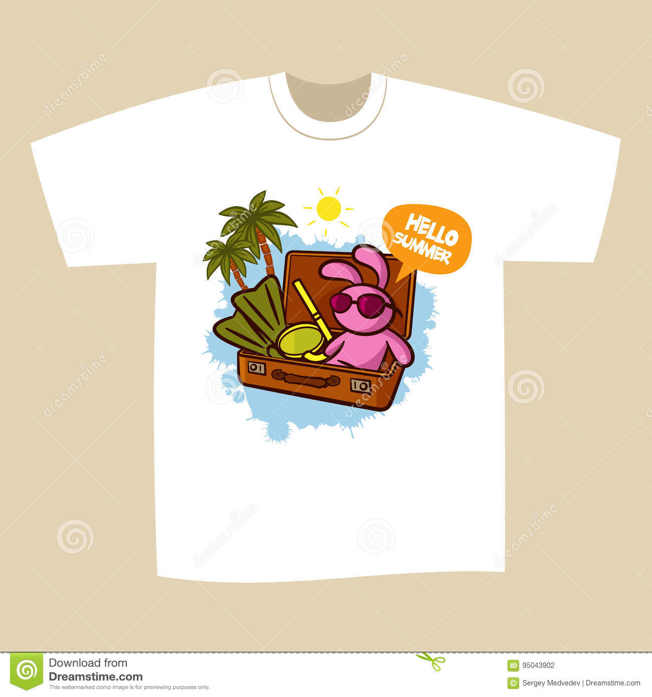59307c6a476 T-shirt Print Design Summer Vacation Stock Illustration ...