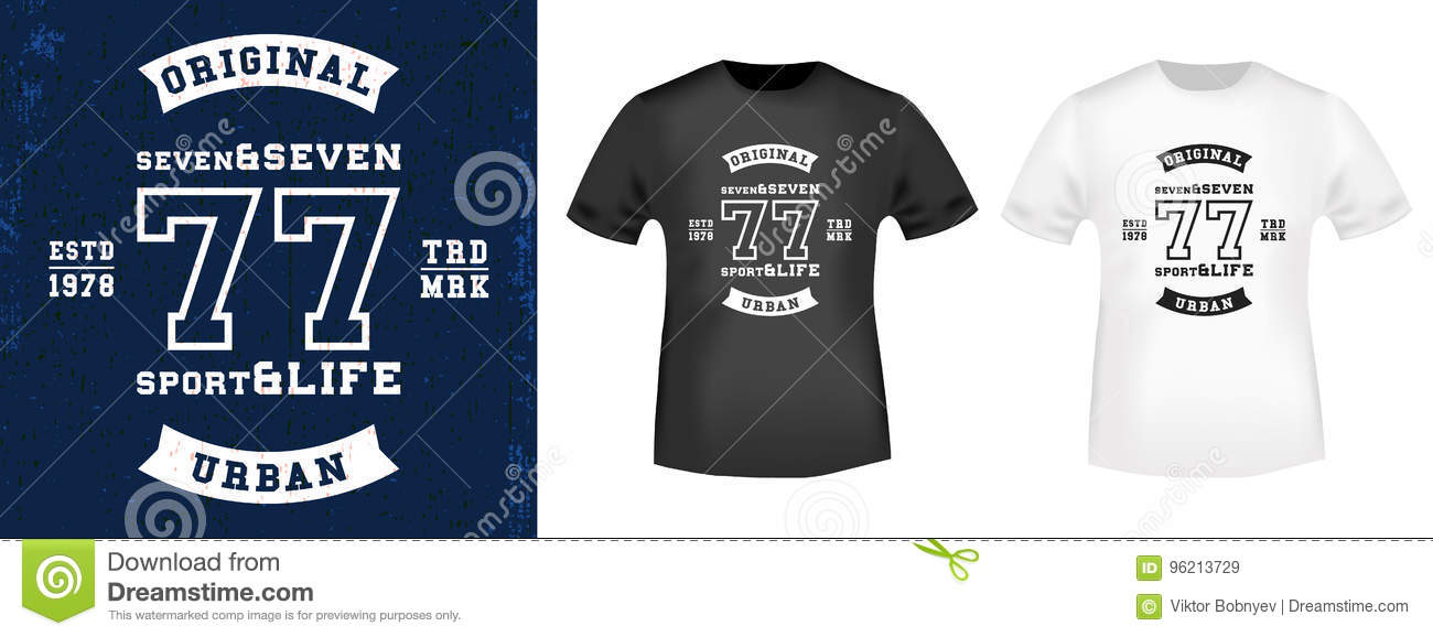 f615aafca T-shirt print design. 77 vintage stamp and t shirt mockup. Printing and badge  applique label t-shirts, jeans, casual wear. Vector illustration.