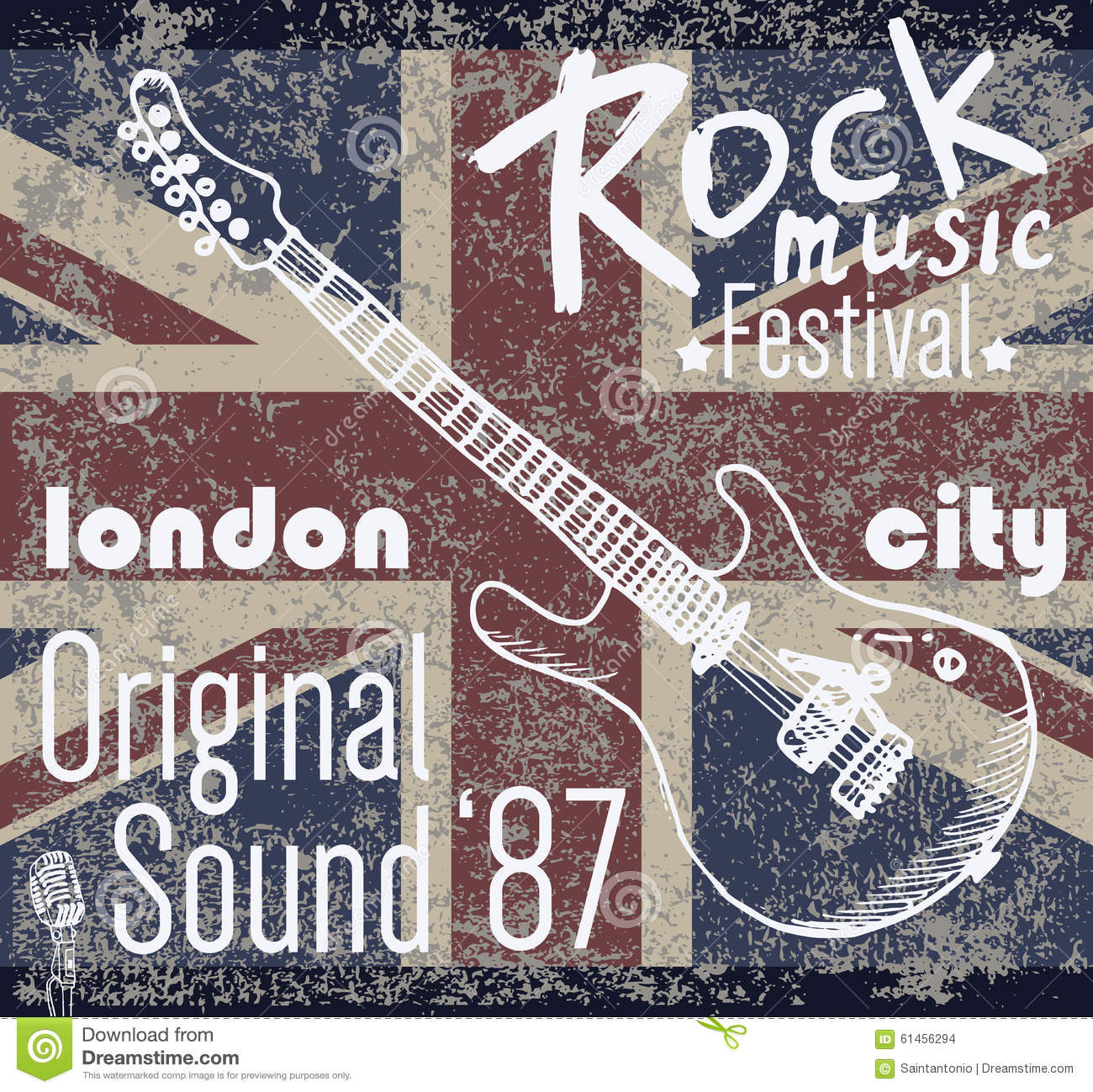 T-shirt Printing design, typography graphics, London Rock festival vector illustration with grunge flag and hand drawn sketch gu