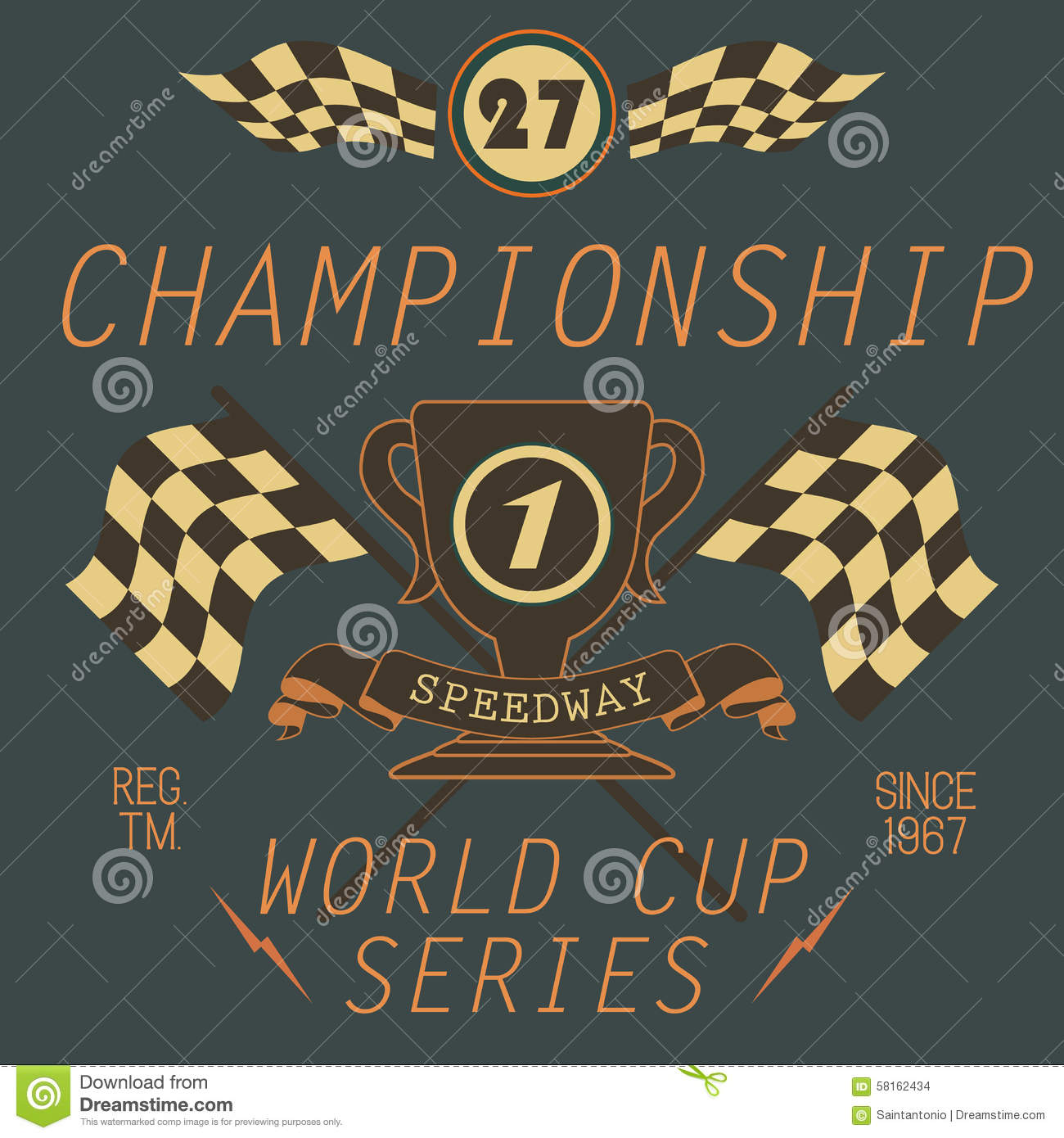 T-shirt Printing design, typography graphics, Speedway championship word cup series vector illustration Badge Applique Label