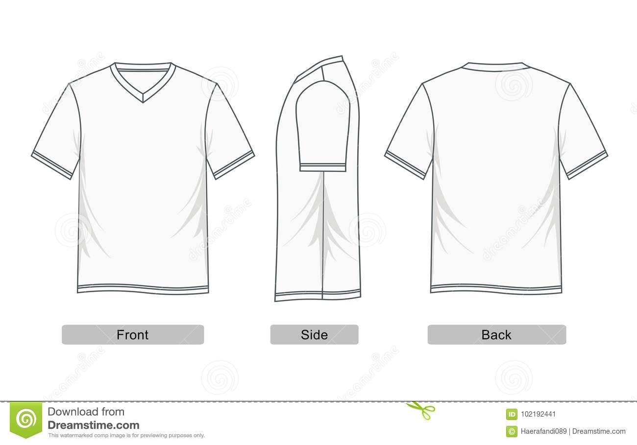 85bed3ea8d79 Design graphic T-shirt white V-neck short sleeve, Front, side, back, vector  images. Designers Also Selected These Stock Illustrations