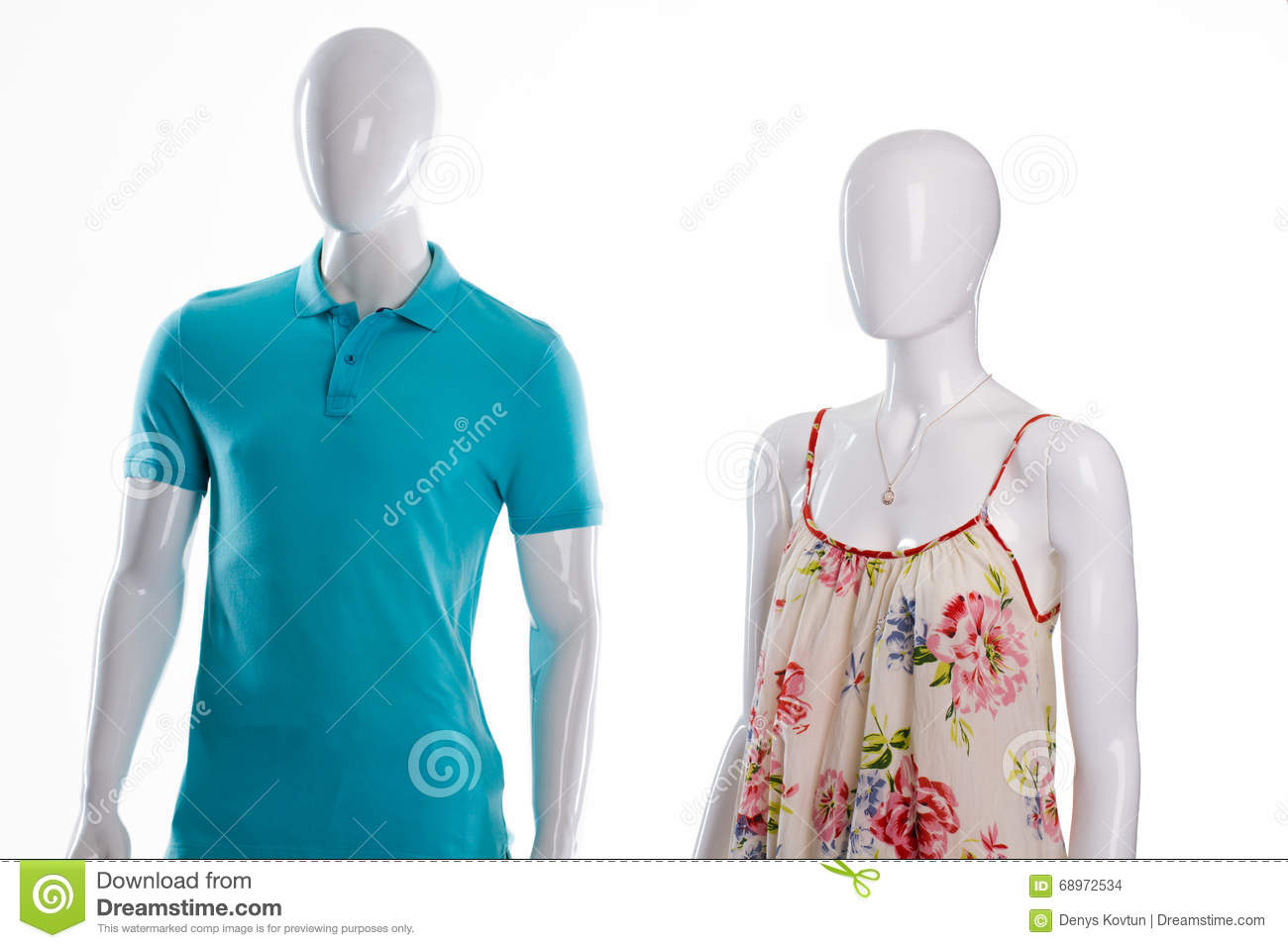baf295f43ecf T-shirt and sarafan on mannequins. Mannequins in casual summer clothing. Men s  polo and woman s sarafan. Casual clothes sale.