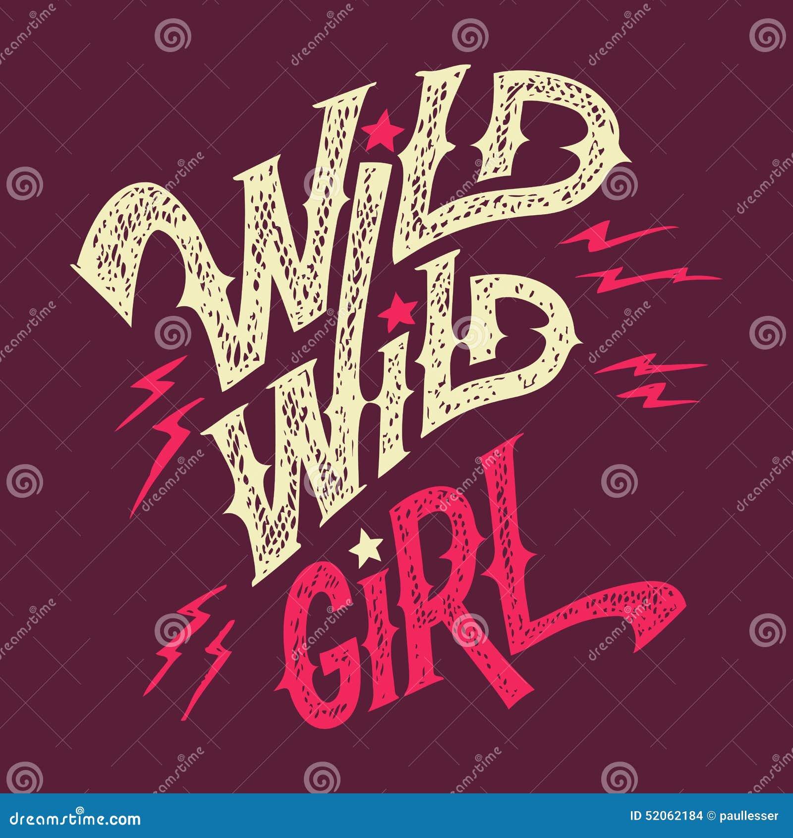 T-shirt selvagem selvagem da mão-rotulação da menina