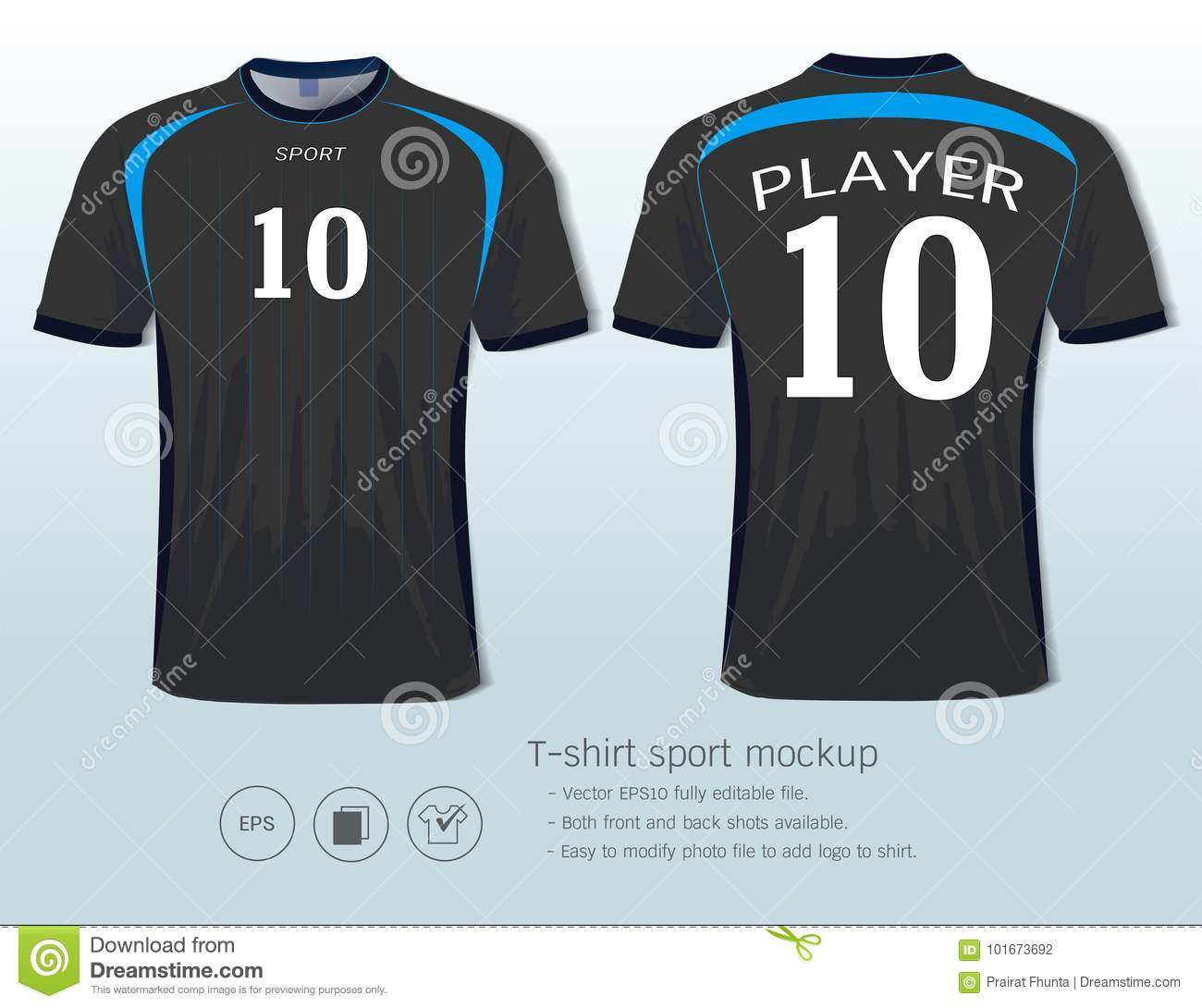 9b5e55f48 T-shirt sport design template for football club or all sportswear, Front  and back shots available, Ready for customization logo and name, Easily to  change ...