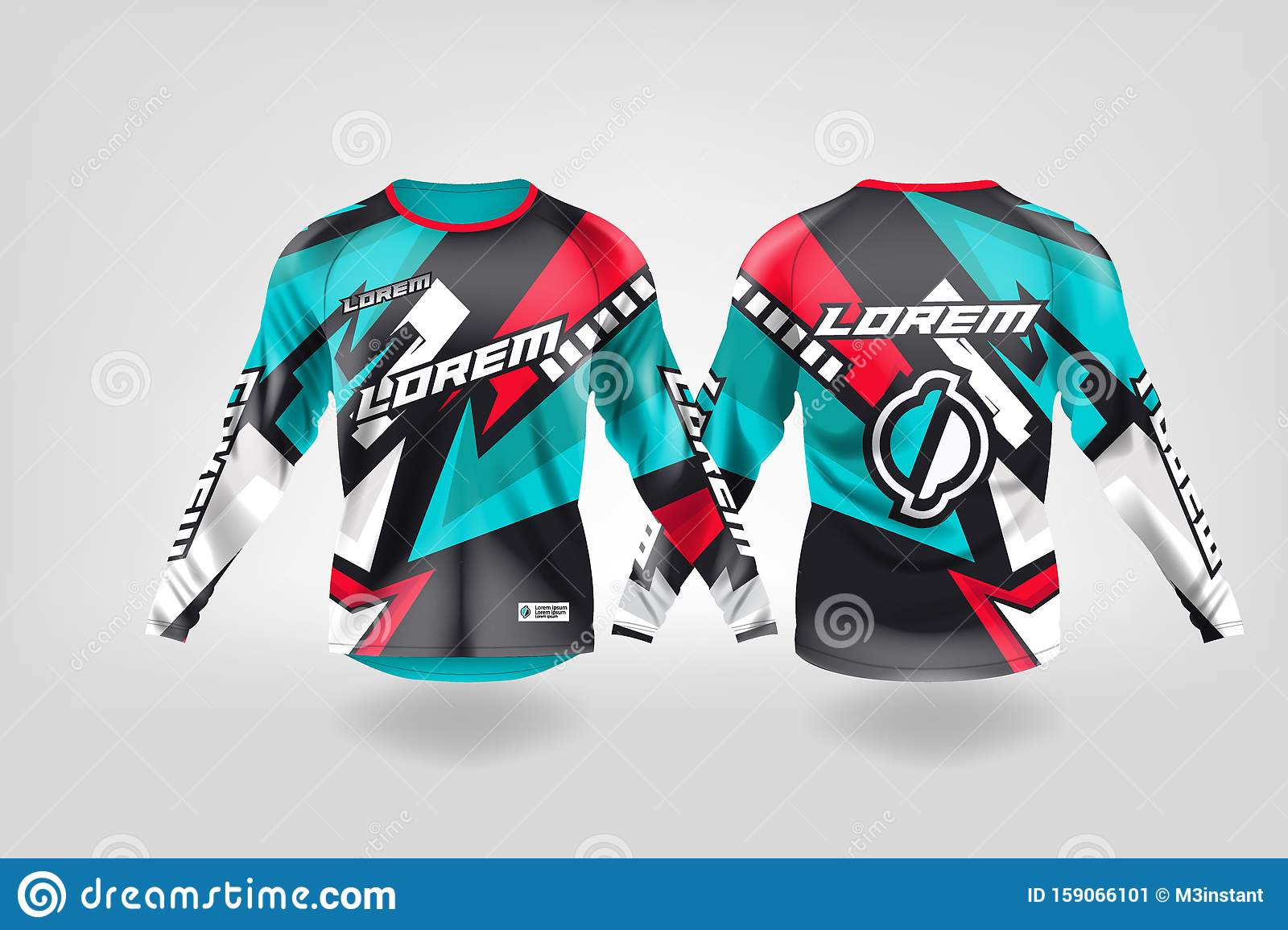 T Shirt Sport Design Template Long Sleeve Soccer Jersey Mockup For Football Club Uniform Front And Back View Motocross Jersey Mt Stock Illustration Illustration Of Football Look 159066101