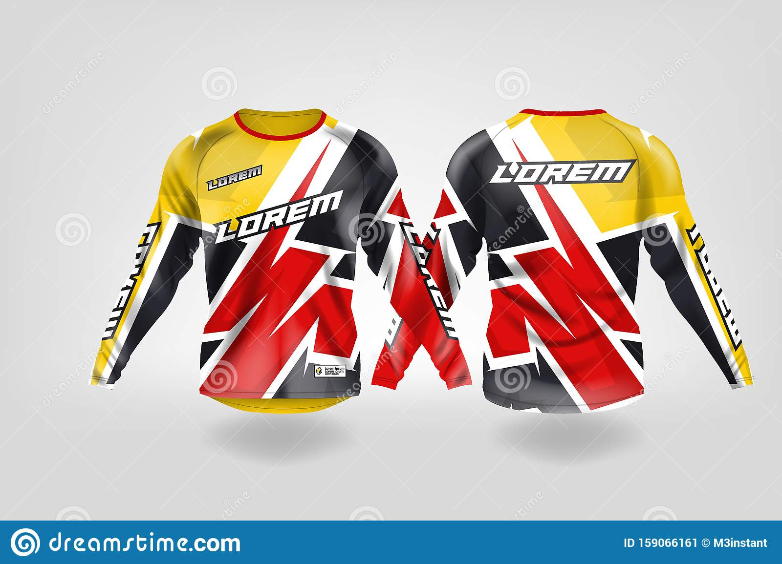 T Shirt Sport Design Template Long Sleeve Soccer Jersey Mockup For Football Club Uniform Front And Back View Motocross Jersey Mt Stock Illustration Illustration Of Apparel Back 159066161