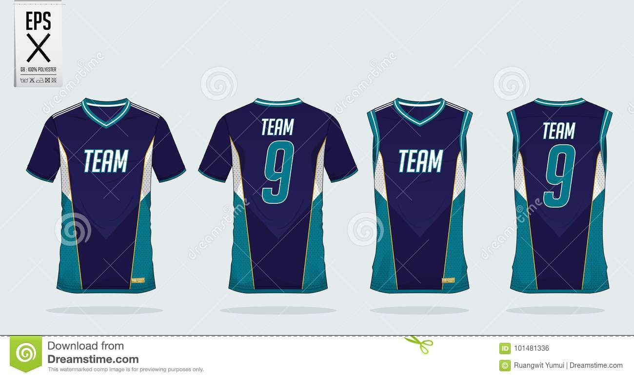 T-shirt sport design template for soccer jersey, football kit and tank top for basketball jersey. Uniform in front and back view.