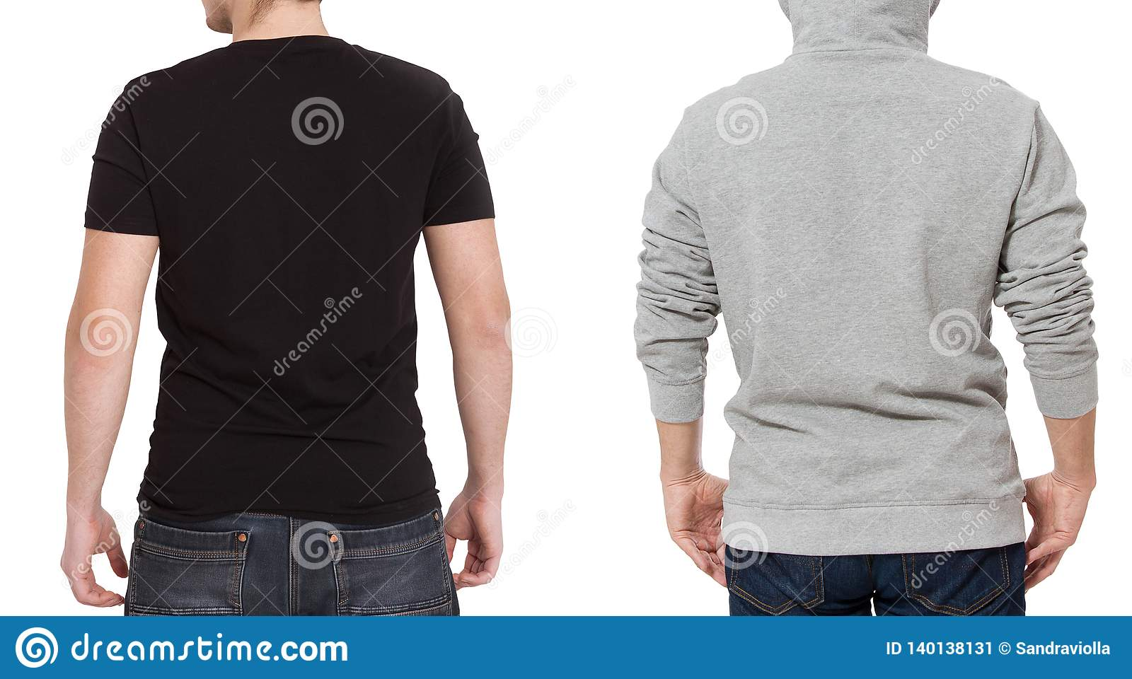 T shirt and sweatshirt template. Men in black tshirt and in grey hoody. Back rear view. Mock up isolated on white background. Copy