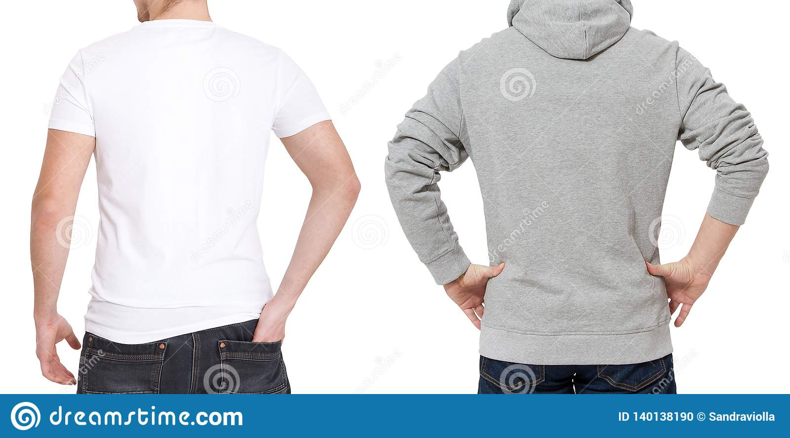 T shirt and sweatshirt template. Men in white tshirt and in grey hoody. Back rear view. Mock up isolated on white background. Copy