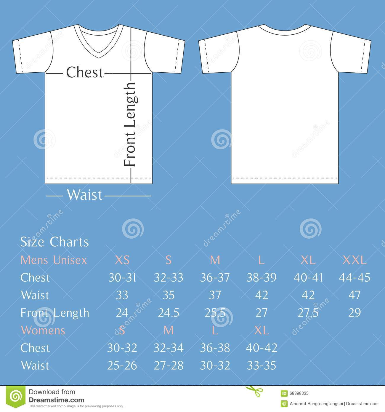 T Shirt Template Back And Front With Size Chart For Man And Woman