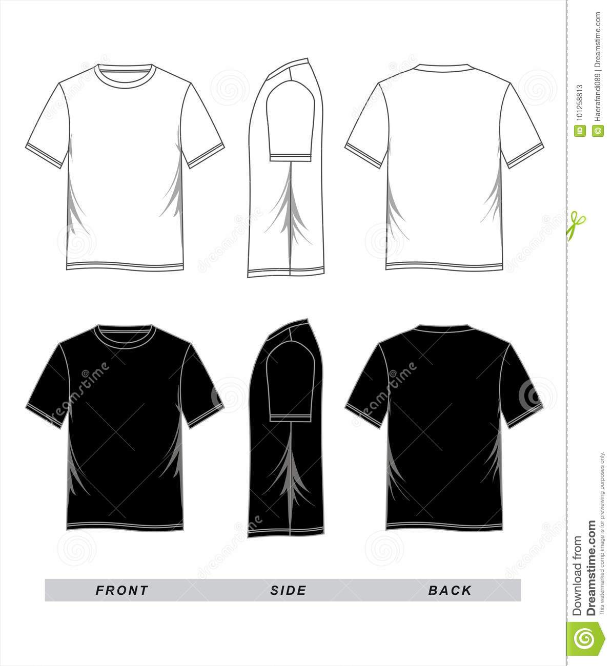T-shirt Template Black White, Front, Side, Back Stock Vector ...