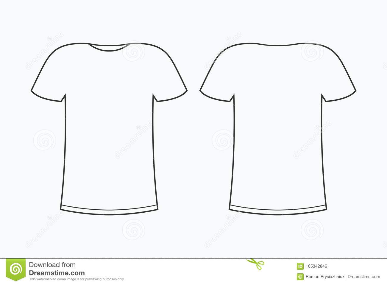 T Shirt Template Blank Line Tee Front And Back Vector