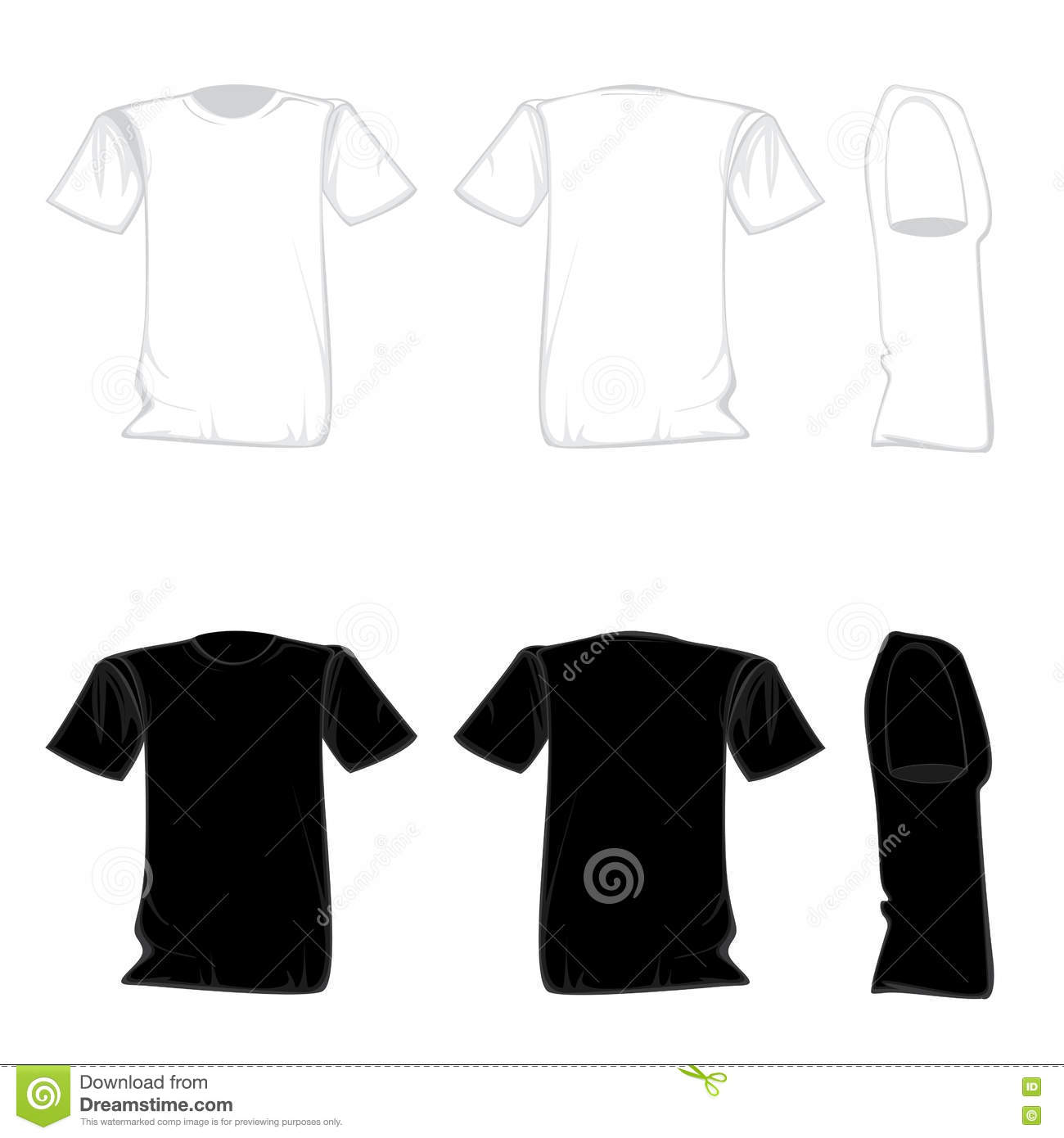 T-shirt Template Design Set. Shirt For Front With Back And Side ...